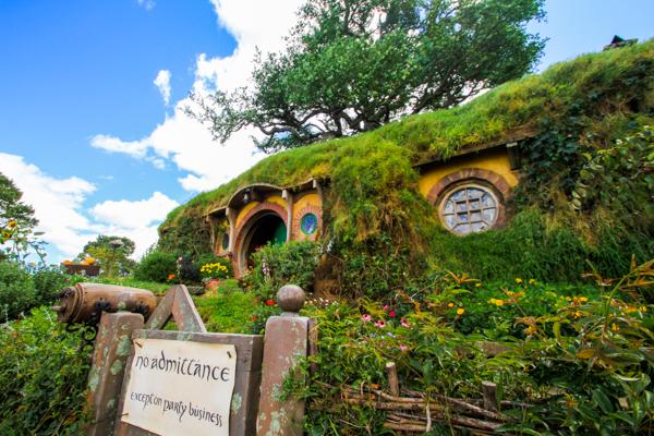 Casa do Bilbo e Frodo Baggins em Hobbiton na Nova Zelândia