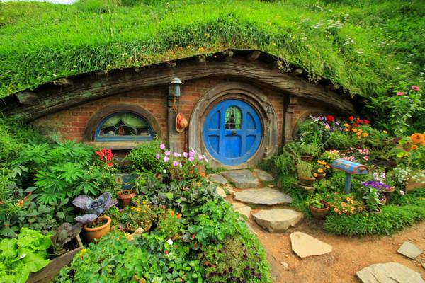 Casinha típica em Vila Hobbit em Hobbiton na Nova Zelândia