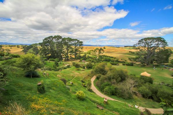 Visual para o condado em Hobbiton na Nova Zelândia