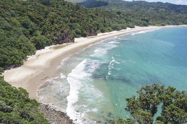 New Chums Beach Coromandel Península. Uma das praias mais bonitas da Nova Zelandia