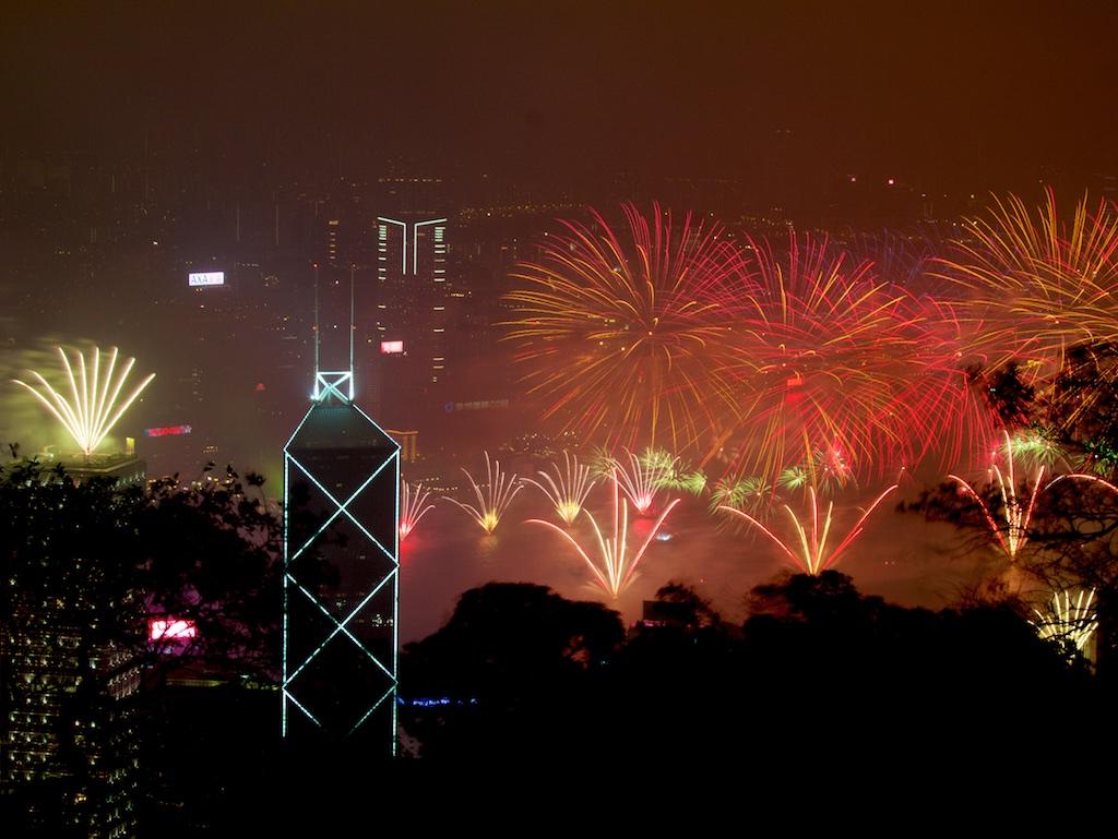 Fogos no Novo em Hong Kong