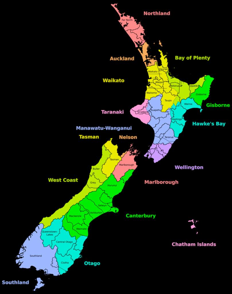 Mapa das regiões da Nova Zelândia